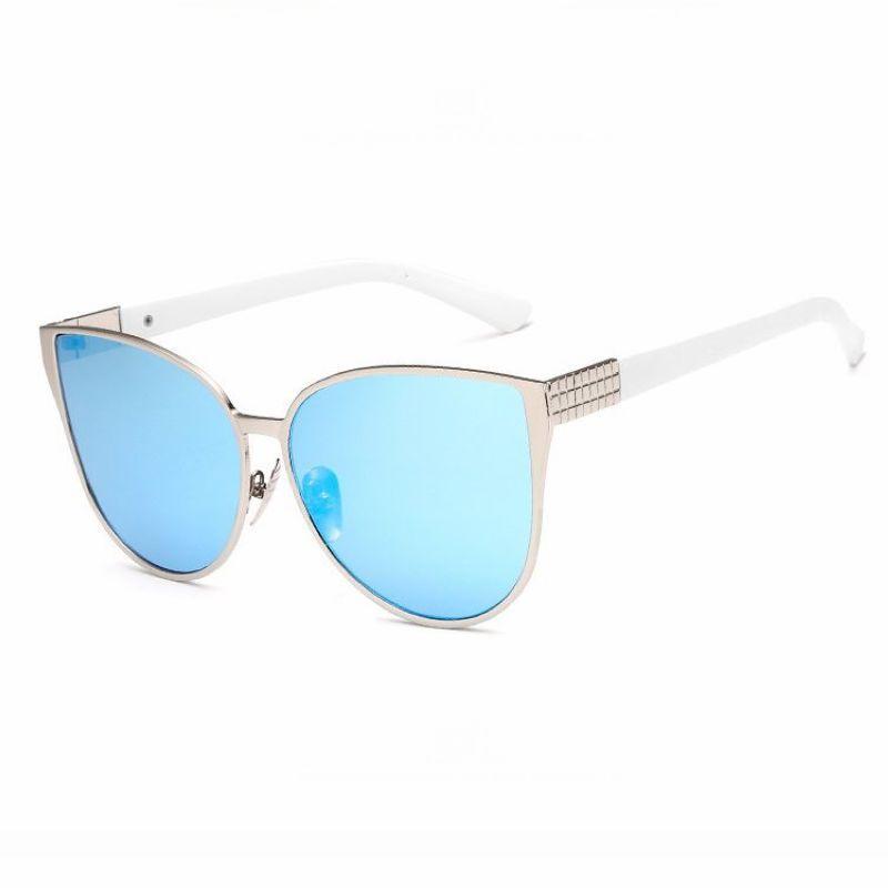 Celebrity Oversized Cat Eye Metal Sunglasses Blue Mirror Metal Sunglasses Cat Eye Sunglasses Sunglasses