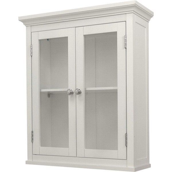 Bathroom Wall Cabinet White Two Door Wood Home Storage Shelf