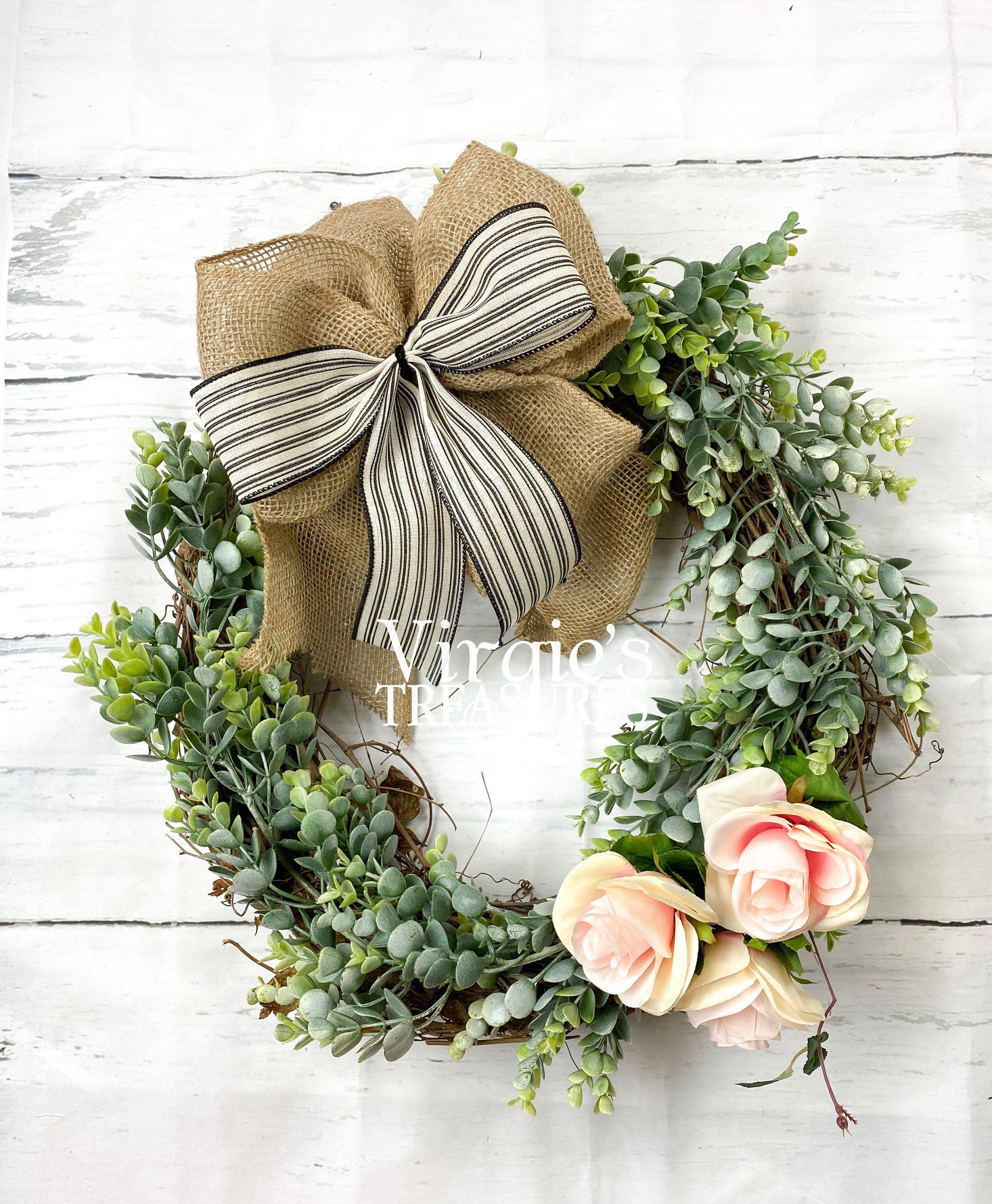 Photo of Eucalyptus wreath, spring wreath, peasant wreath, front door wreath, French country decor, everyday wreath, wedding, inauguration party