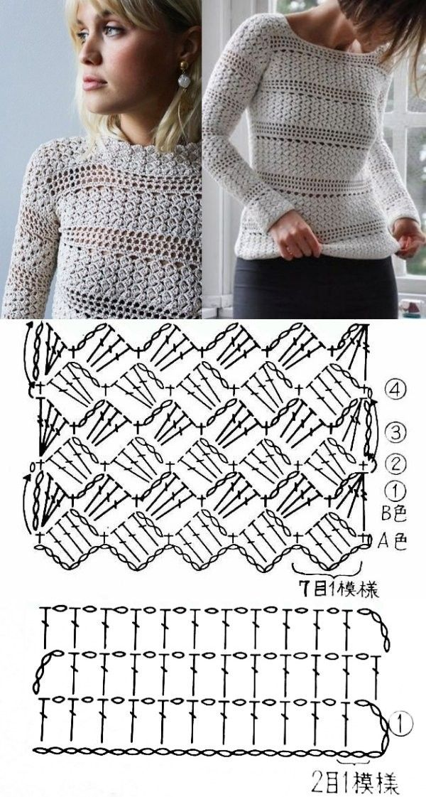11 modelos e ponto de crochê para blusas ⋆ De Frente Para O Mar – crochet lace