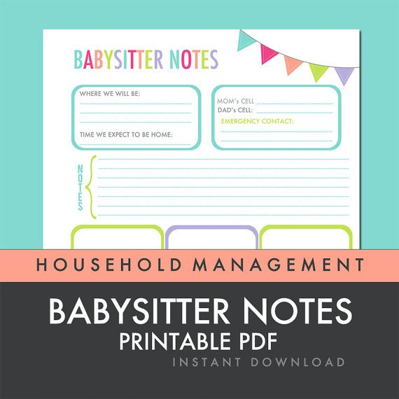 Babysitter Notes Printable PDF INSTANT by FreshPaperieEtsy Good - How To Make A Household Budget Spreadsheet