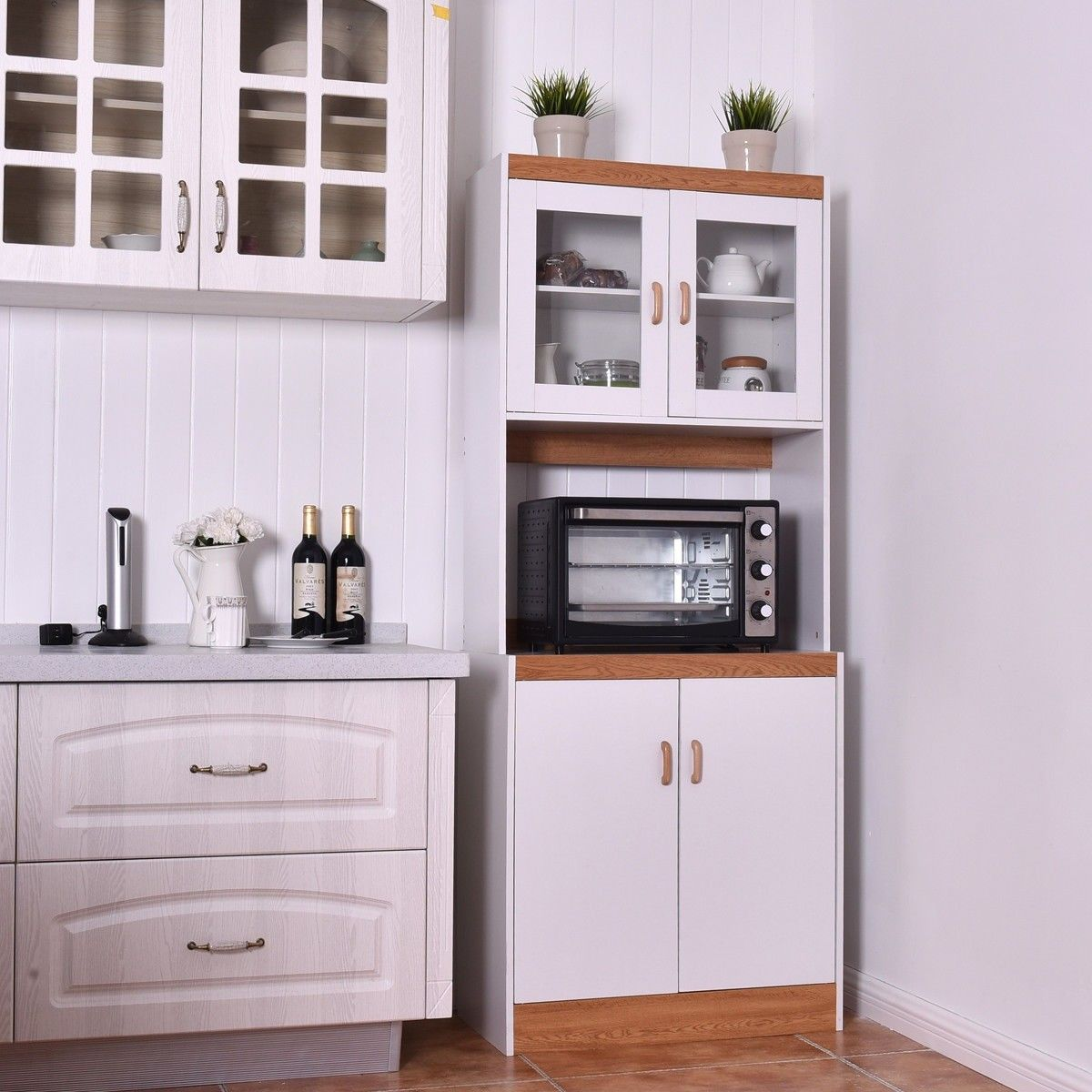 Tall Shelves Microwave Cart Stand Kitchen Storage Cabinet 129 95 Free Shipping This Is Kitchen Cabinet Storage Microwave In Kitchen Storage Cabinet Shelves