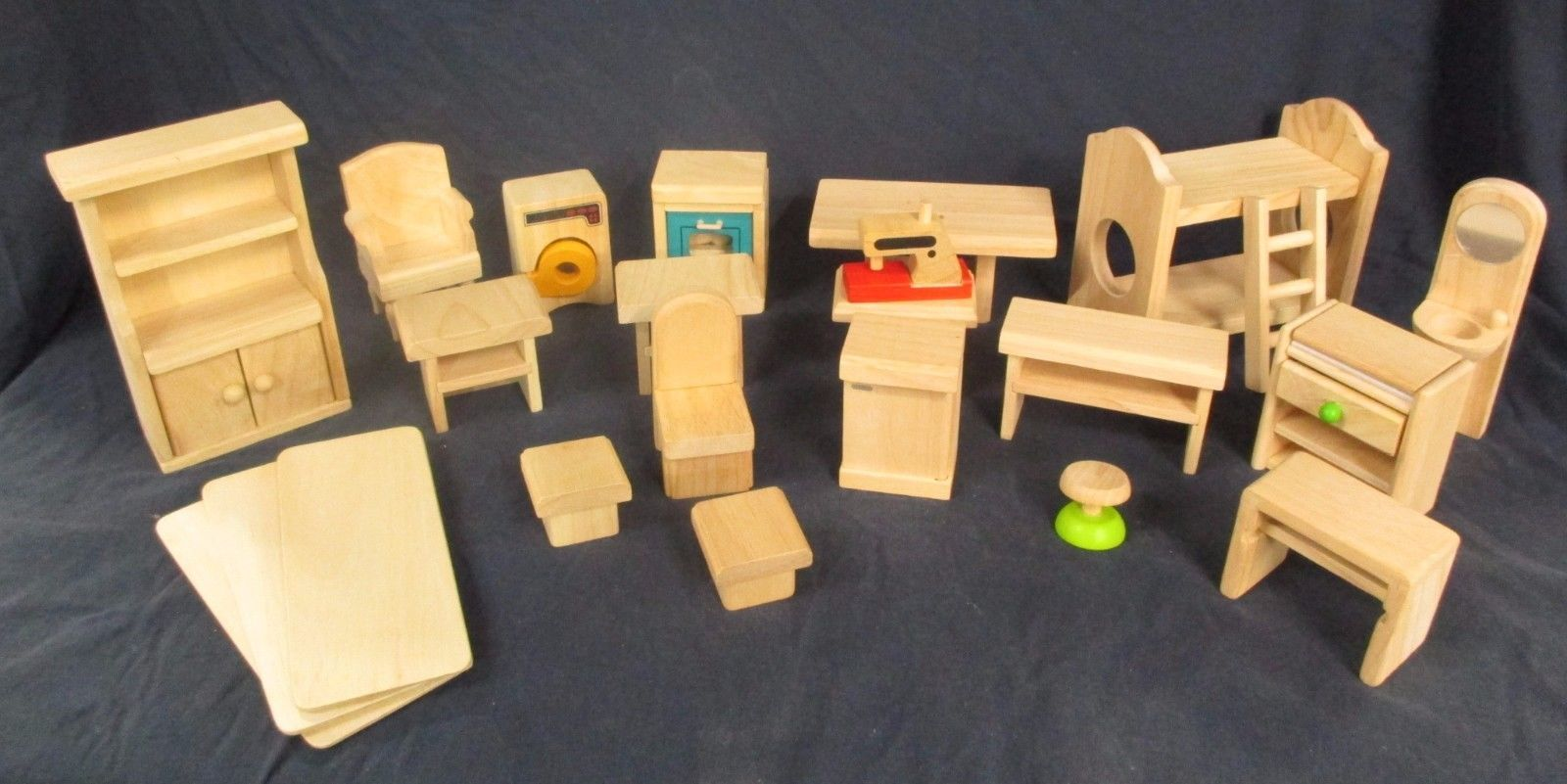 Kids plan toys wooden dollhouse furniture lot bathroom kitchen bedroom ad