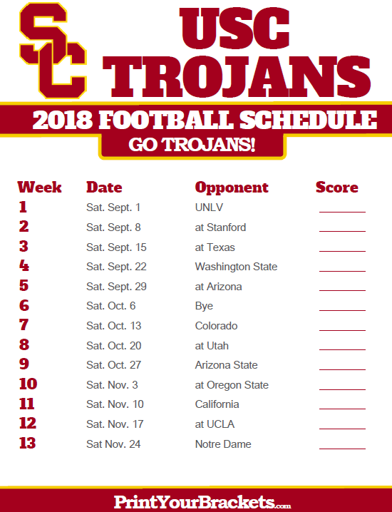 2019 Usc Football Schedule 2018 Printable USC Trojans Football Schedule | Printable College