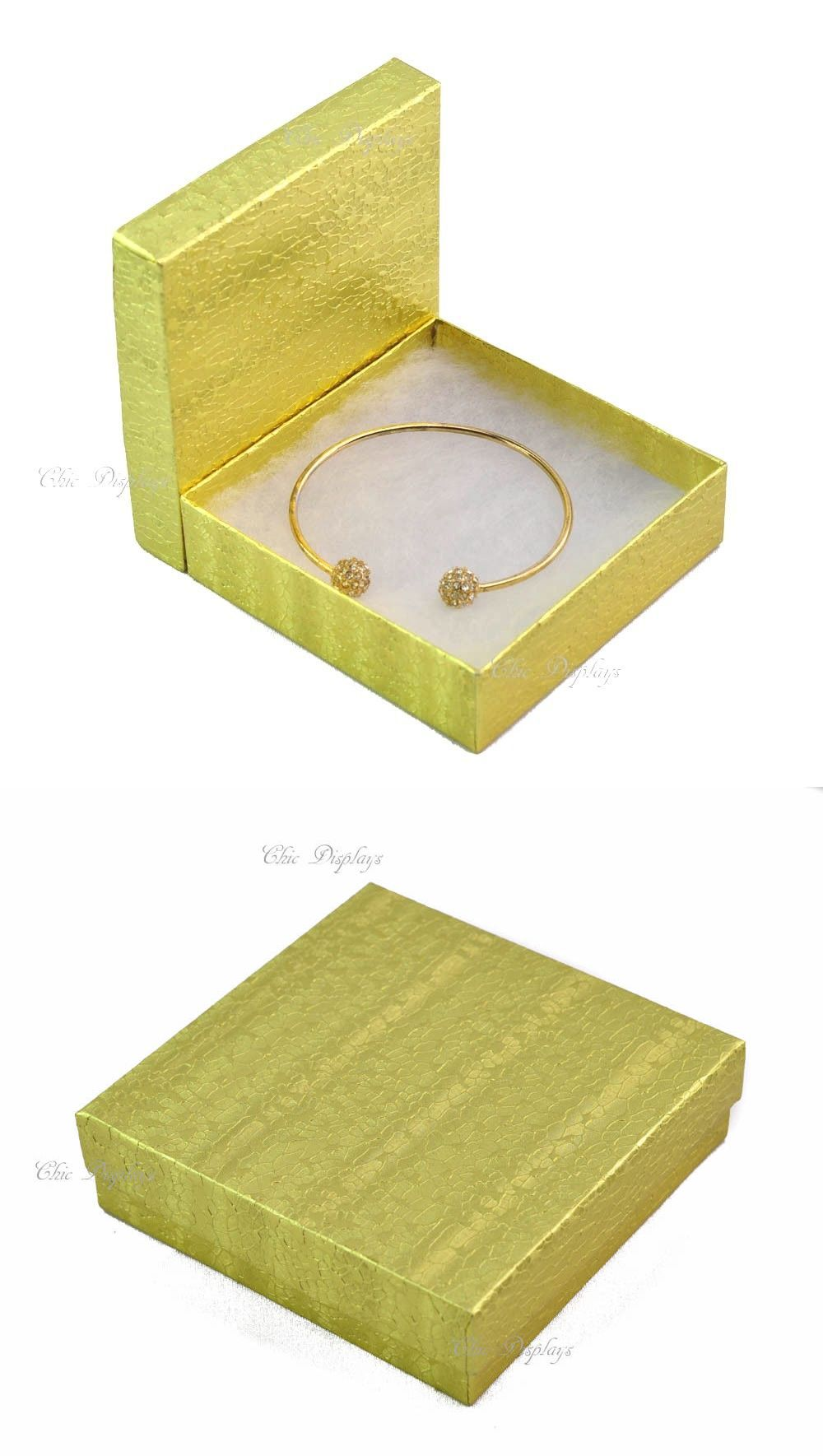Bracelet 168160 Lot Of 100 Gold Cotton Filled Box Jewelry Gift