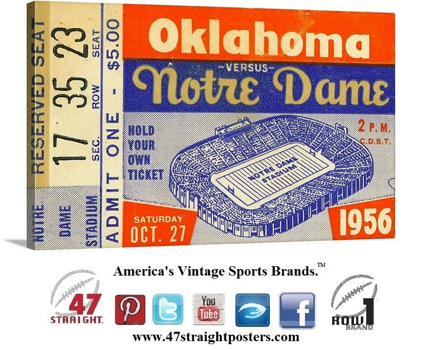 1956 OU vs. Notre Dame football ticket art on canvas. In ...