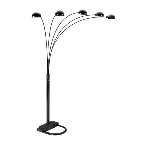 OSHL-84H-Black-Finish-5Arm-Arch-Floor-Lamp-Metal-and-Plastic-Construction