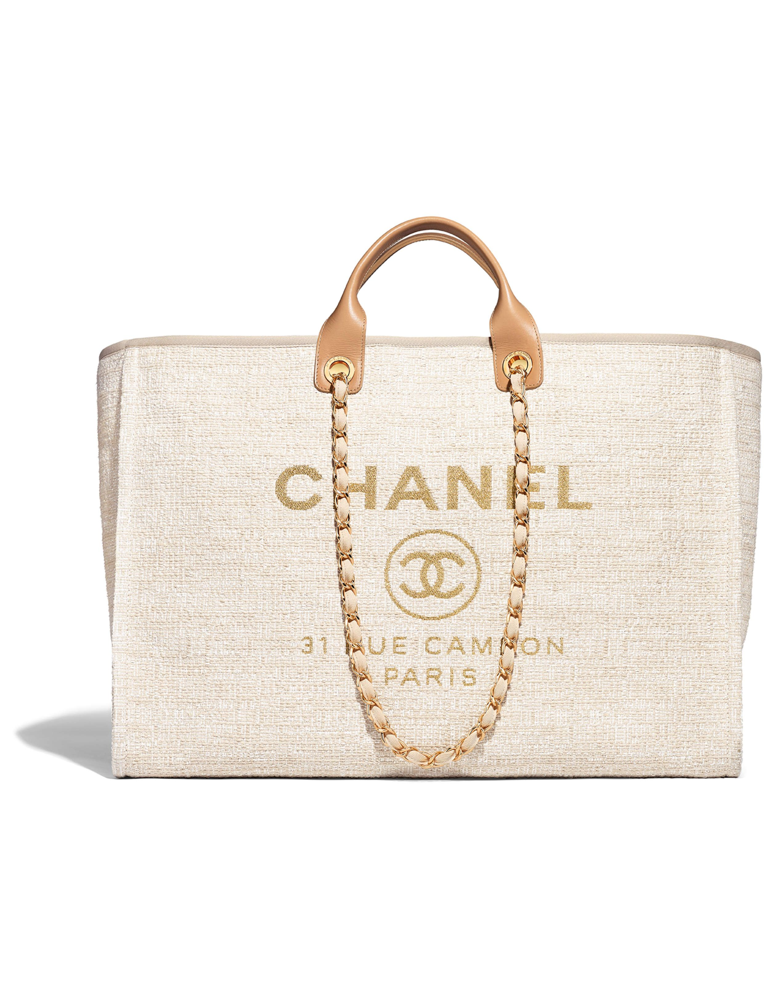 50e69d970 Large shopping bag, canvas, calfskin & gold-tone metal-beige - CHANEL