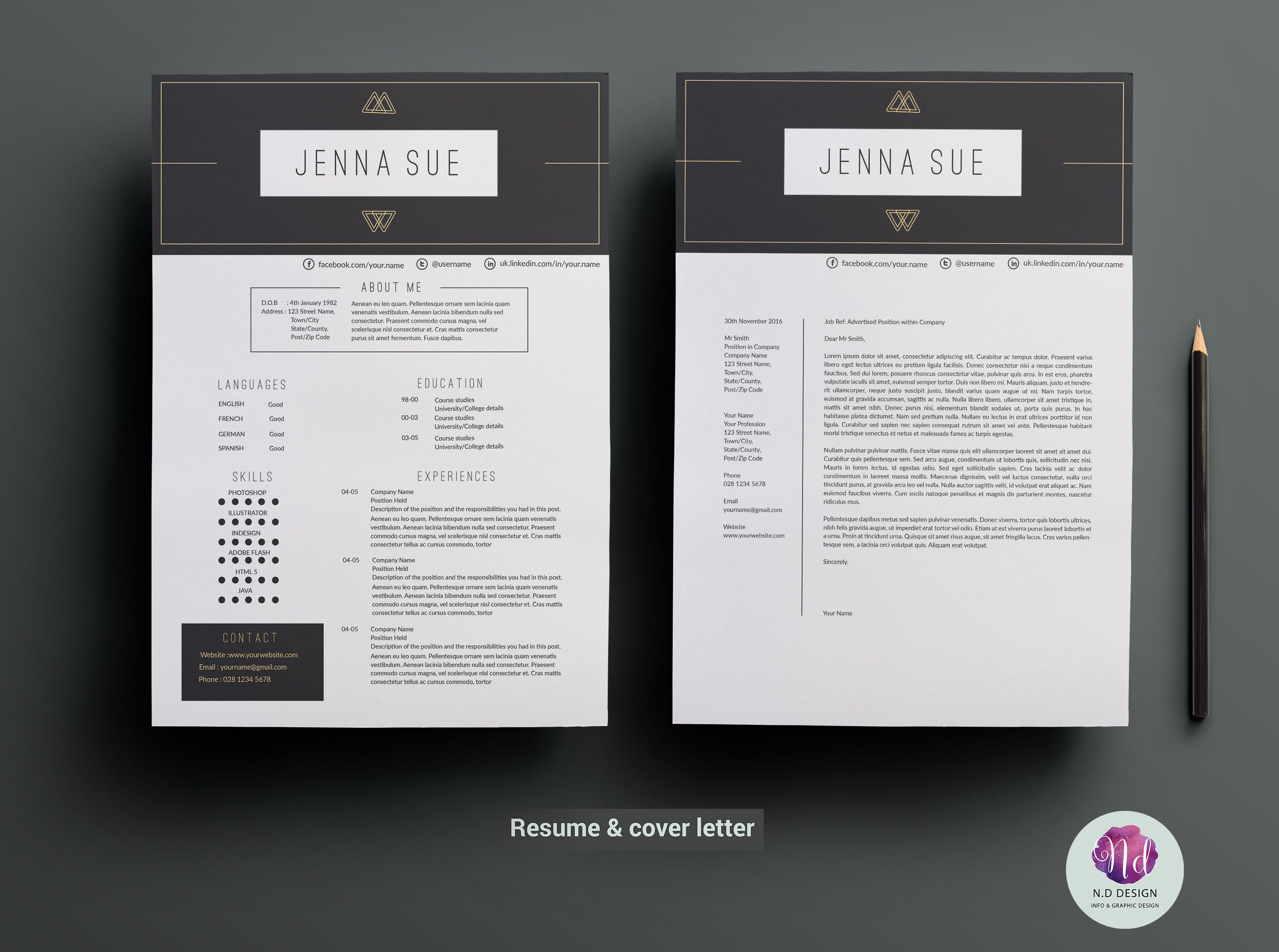 Cv Template  Cover Letter Template By Chic Templates On Creative