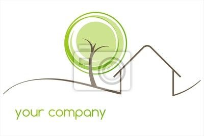 business logo design of cozy homes | Wall Mural home , tree, green eco friendly business logo design - tree ...