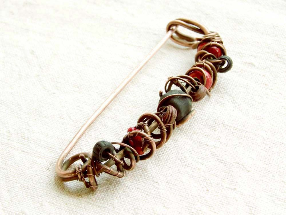 Copper Shawl Pin The Red Land, with ceramic bead, wire wrapped ...