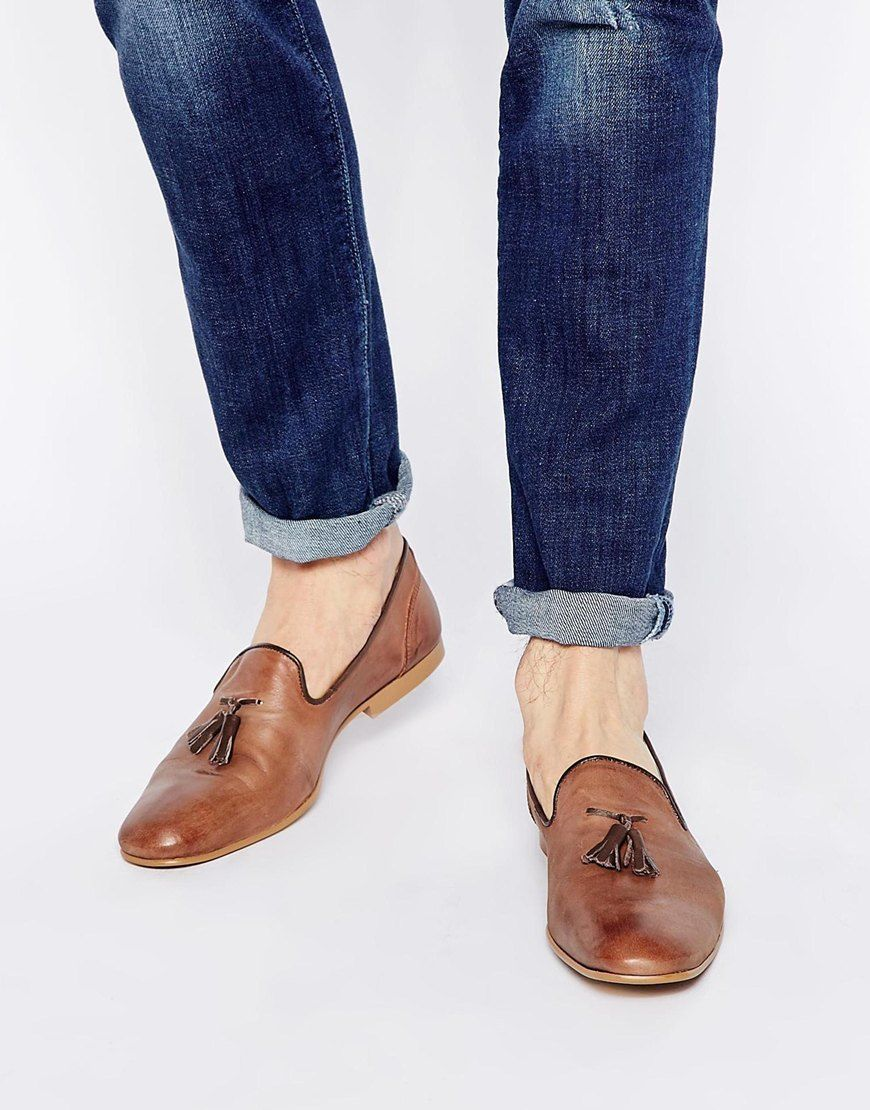 Buy Men Shoes / Asos Tassel Loafers From Washed Leather