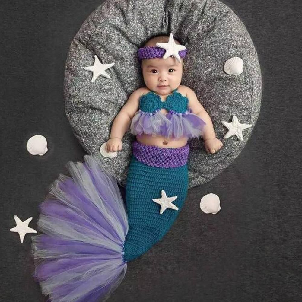 2daa79e40bb0d Newborn Baby Crochet Photography Props Princess Girls Mermaid Costume for  Photo Shoot Infant Beanies Caps Warm Baby Outfits Set
