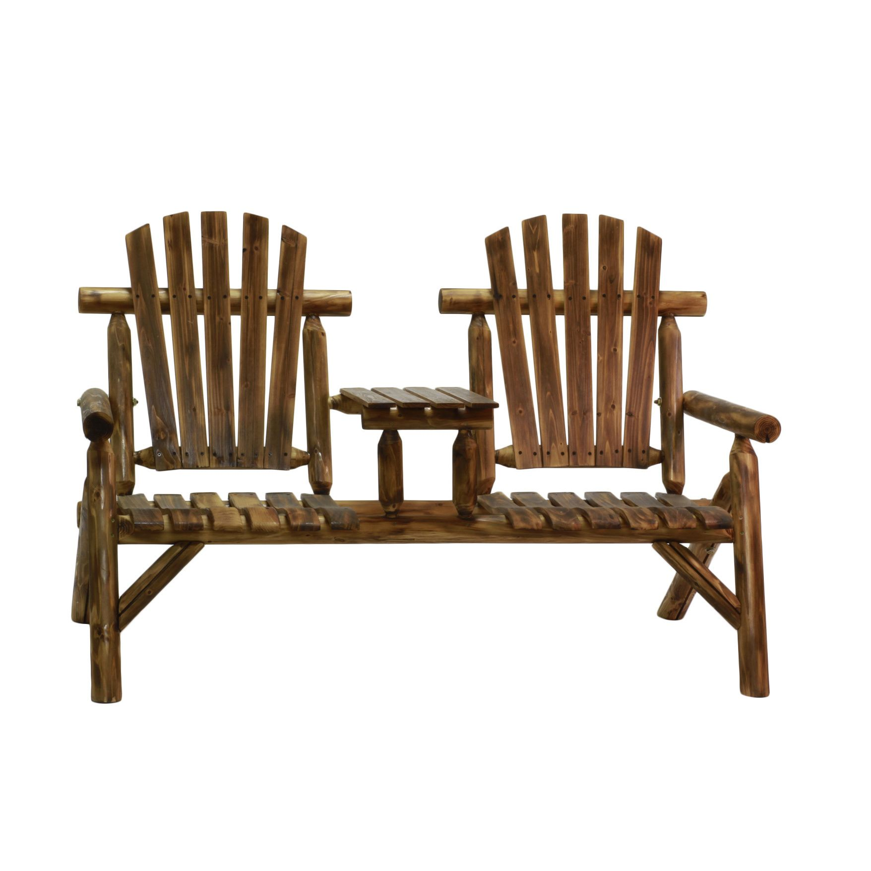 Enjoy The Summer Evening Breeze On This Rustic Two Seat Log Bench! The Fan  Back And Slatted Seat Will Provide You With Support And Comfort.