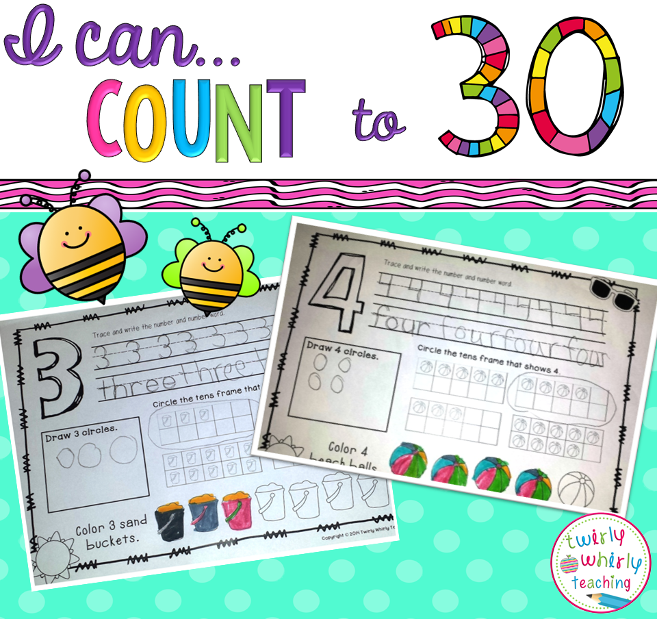 Counting to 30 Practice Pages | Count, Pre-school and Number words