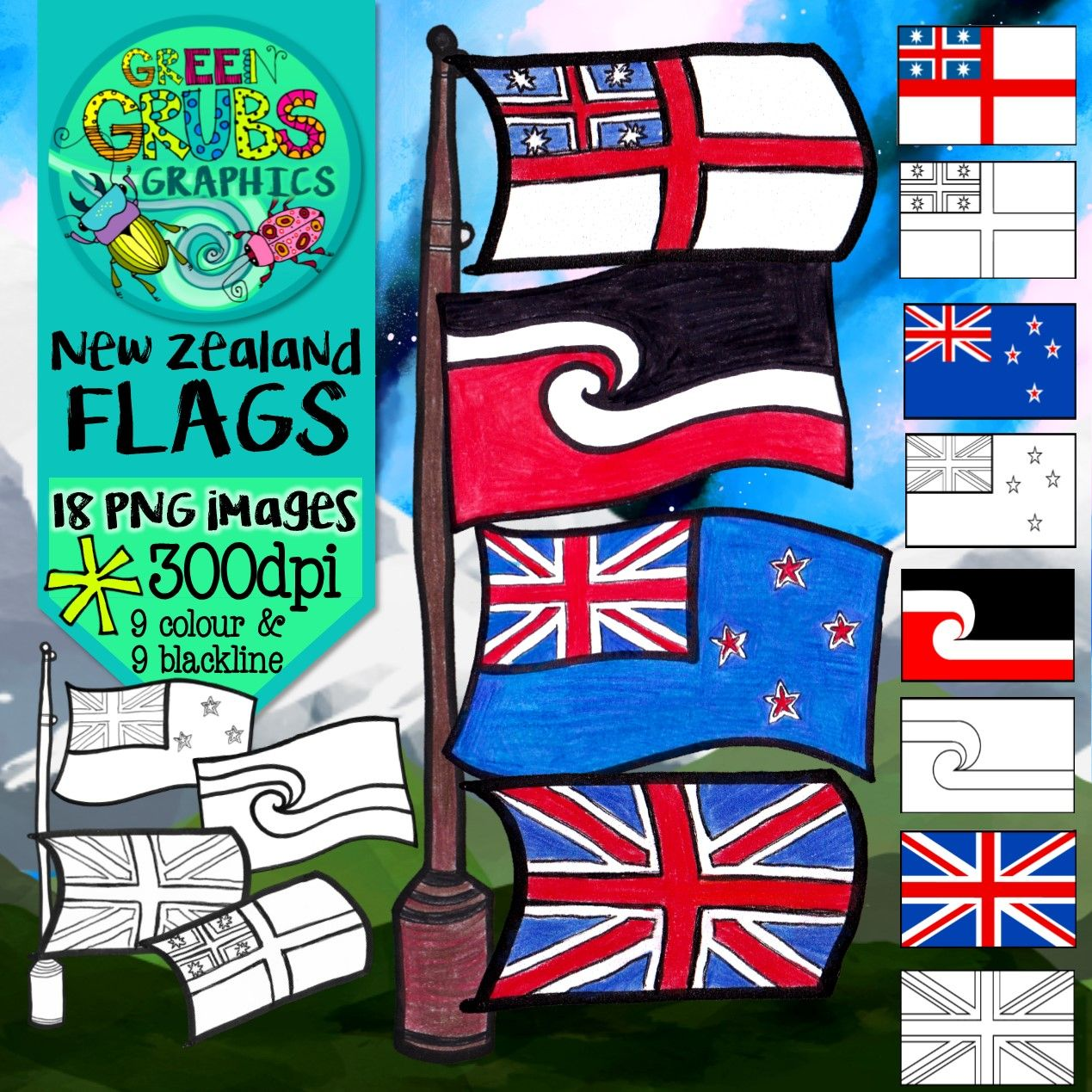 ***FREEBIE!*** Hands up if you're a proud Kiwi? Then this FREE clip art set of New Zealand flags is just what you need!  This resources includes our official flags from 1834 through to the present day (The flag of the united tribes on NZ; The Union Jack, The Blue ensign with stars/current New Zealand flag & the Tino Rangatiratanga flag)