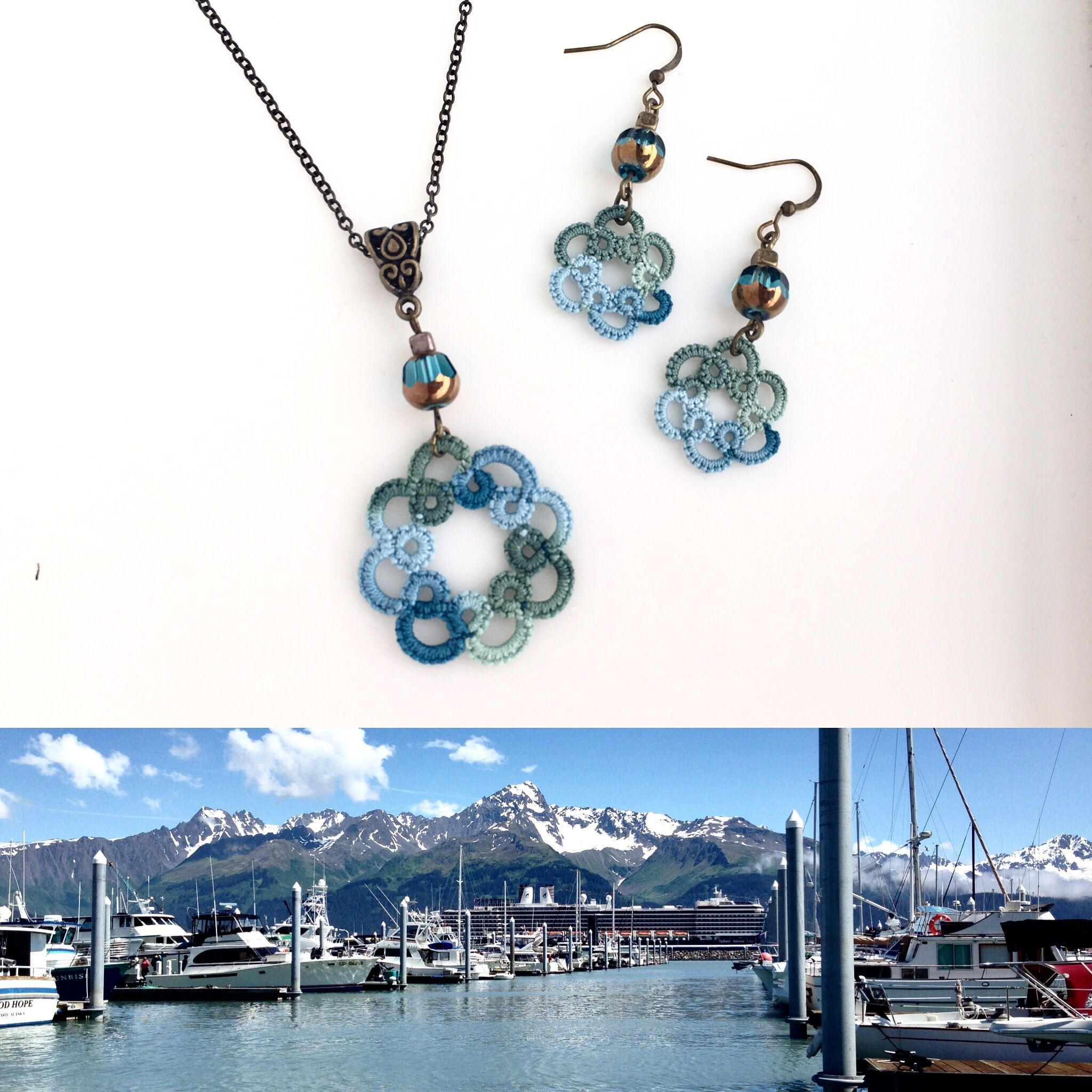 Turquoise Blue Pendant Necklace Turquoise Crystal Bronze Bead Unique Lace