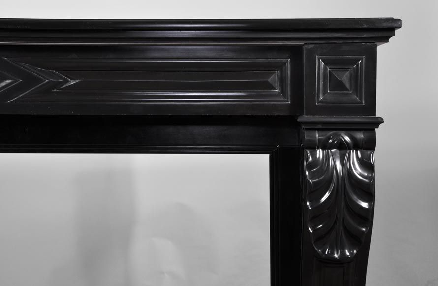 Antique Napoleon III style fireplace with lion's paws in Black Belgium marble