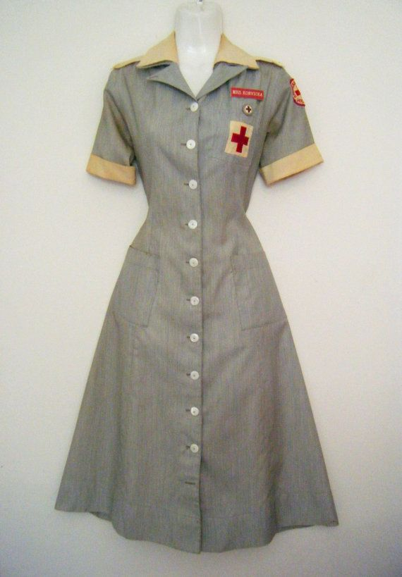 a0d2660bb3aa1 1940s - 50s WWII NURSE UNIFORM with name badge, American Red Cross ...