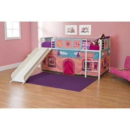 Girls Princess Castle Twin Loft Bed With Slide White Walmart Com
