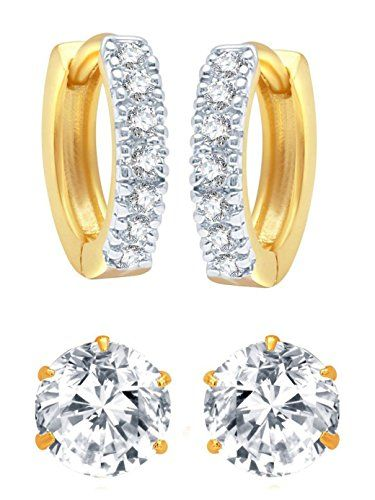 43eca829f YouBella Jewellery American Diamond Gold Plated Combo of Hoop and Stud  Earrings for Girls and Women
