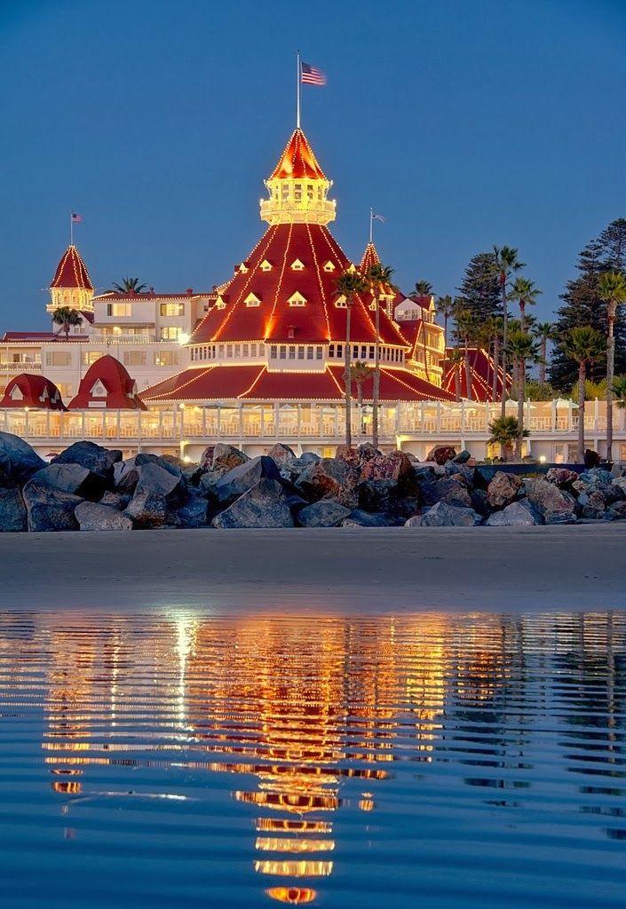 Coronado Island One Last San Diego Sunset And Monday: Hotel Del Coronado, Coronado Island, Across The Bay From