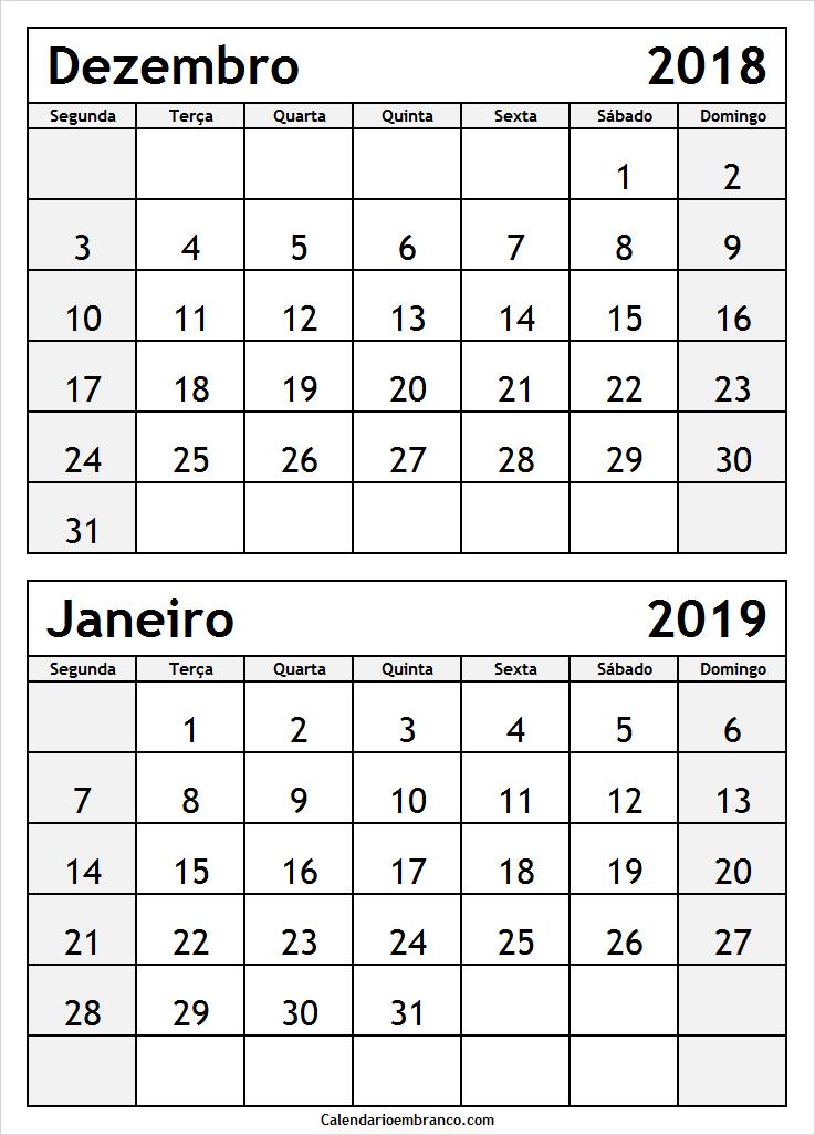 Calendario Dezembro 2019 Janeiro 2020.Dois Meses Calendario Dezembro 2018 Janeiro 2019 Em Branco