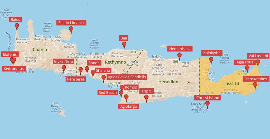 Landkarte der Strände auf Kreta im Regionalbezirk Lassithi (c ...