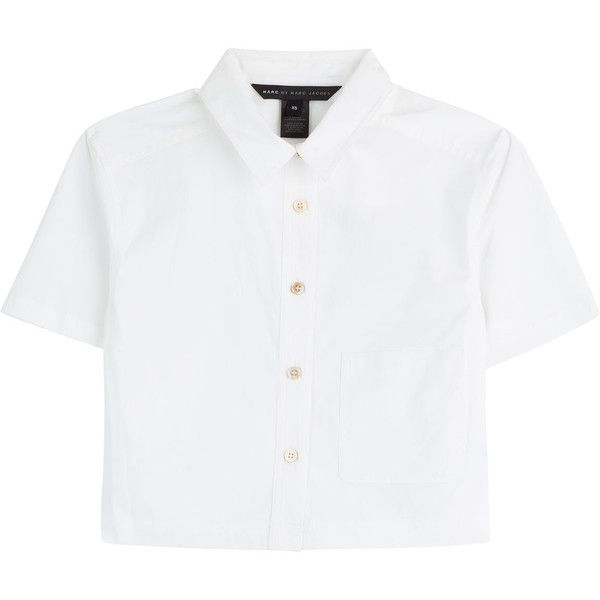 Marc by Marc Jacobs Stretch Poplin Cropped Button-Up ($115) ❤ liked on  Polyvore featuring tops, blouses, shirts, crop tops, white, white button  down shirt, ...