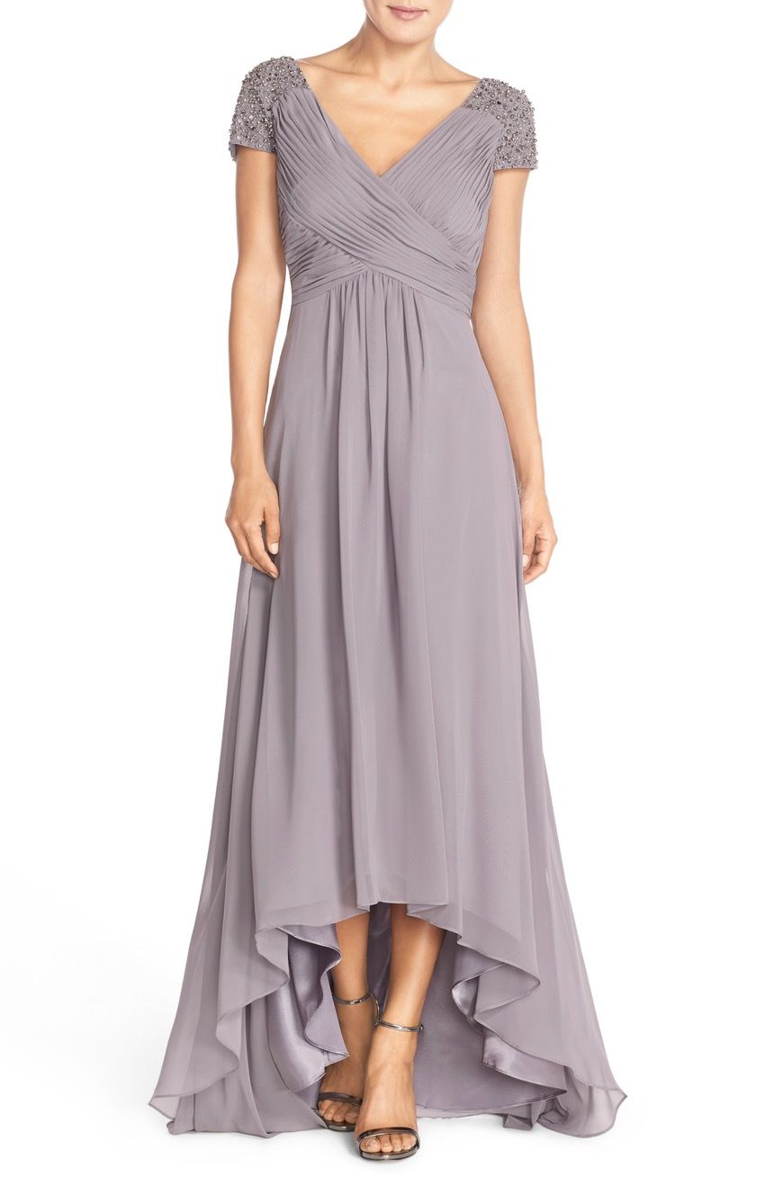 Main image eliza j embellished pleated chiffon gown my style