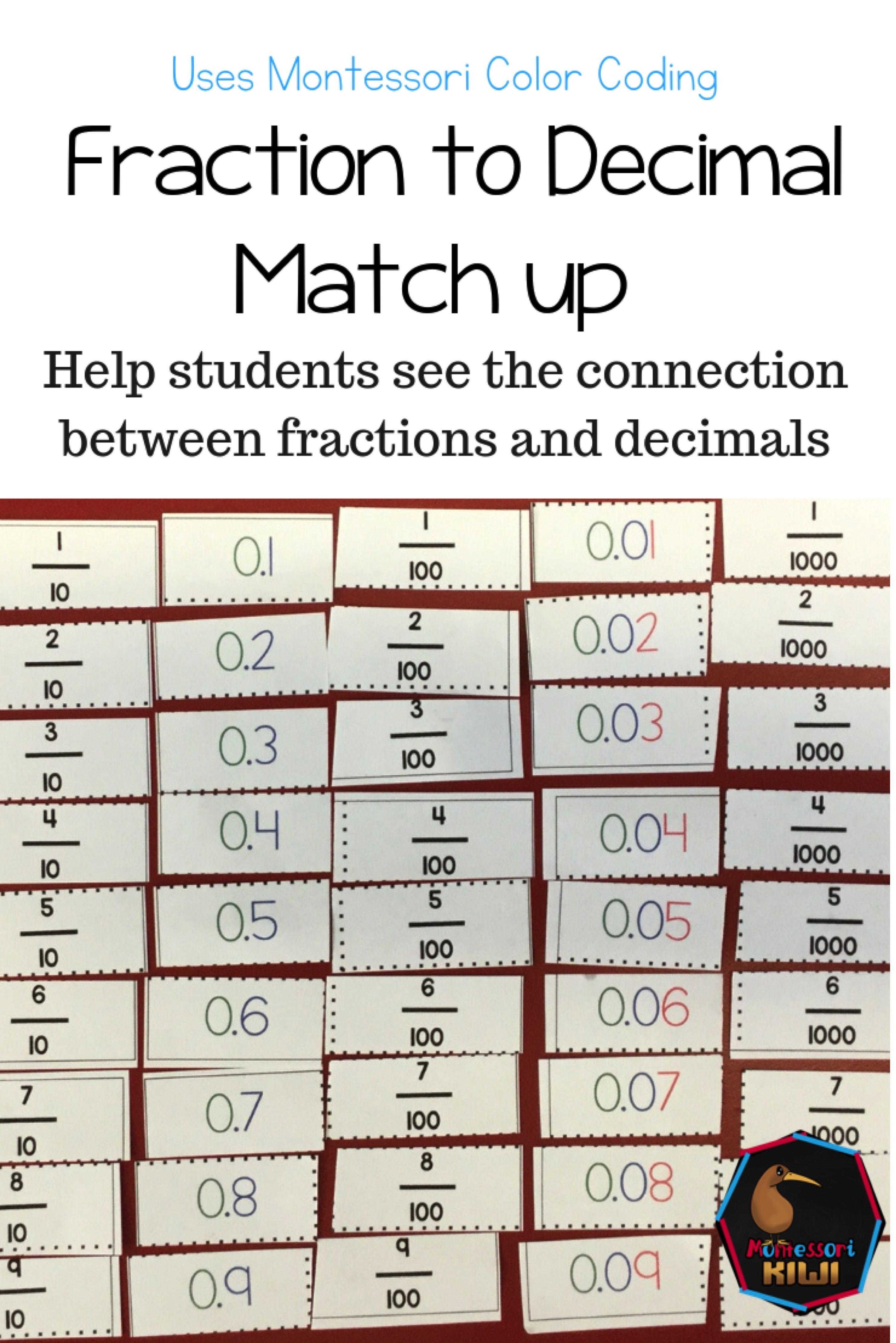 Comparing Fractions To Decimals Match Up