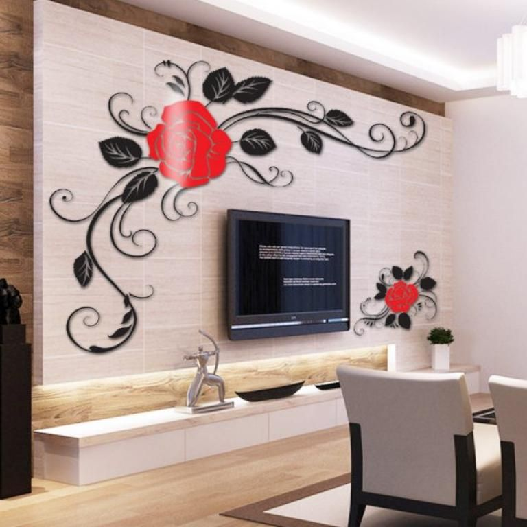 Extraordinary 3d Sticker Ideas On The Tv Wall To Beautify The Living Room Wall Decor Wall Stickers Home Decor 3d Wall Decor