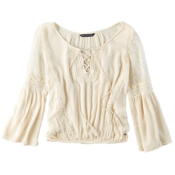 5d10f263a7d AEO Lace Inset Peasant Top (13.975 HUF) ❤ liked on Polyvore featuring tops