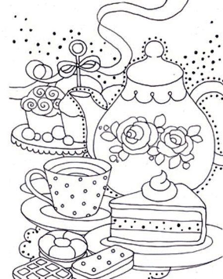 Liz Yee Bw Teapot Zentangles Adult Colouring Pinterest
