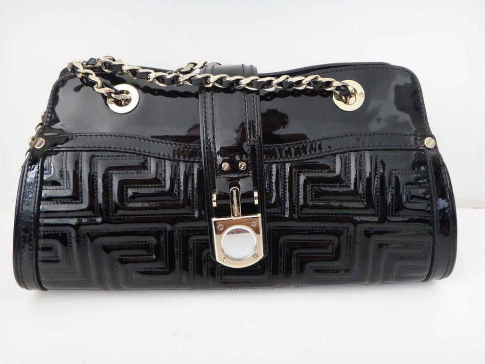 *** VERSACE *** Black patent leather bag purse.