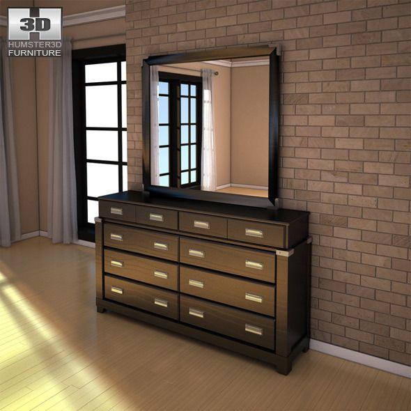 Ashley Diana Dresser & Mirror - 3D model. #Dresser, #Diana ...