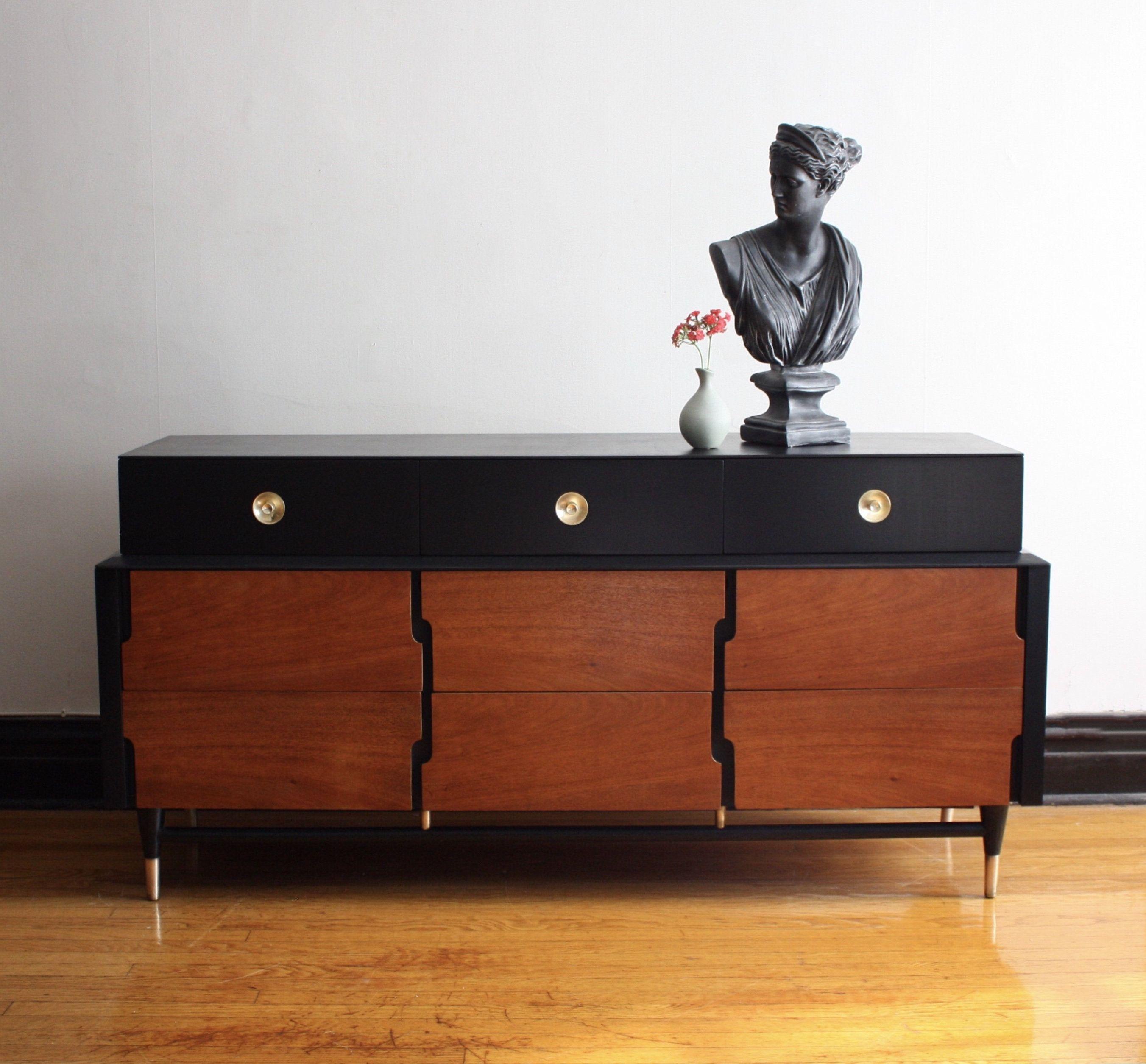 Black And Wood Mid Century Modern Dresser Vintage Mcm Media Console Refinished Mid Century Credenza Refinished Vintage Furniture Furniture Recycled Furniture