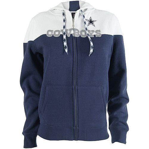 Reebok Dallas Cowboys Women s Football Full Zip Hooded Sweatshirt ... 3bdb1cb25