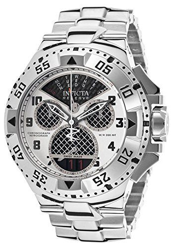 Invicta Men's 'Excursion' Swiss Quartz Stainless Steel Casual Watch, Color:Silver-Toned (Model: 17468). Chronograph Functions with 60 Second, 30 minute and 1/10 of a Second Mesh Sub dials; Retrograde Day of The Week Display; Date Window at 6:00; Unidirectional Stainless Steel Bezel. Silver and Black Carbon Fiber Dial with Silver Tone and White Hands and Black Arabic Numerals; Luminous; Screw-Down Crown; Flame Fusion Crystal; Stainless Steel Case and Bracelet. Swiss-quartz Movement. Case...