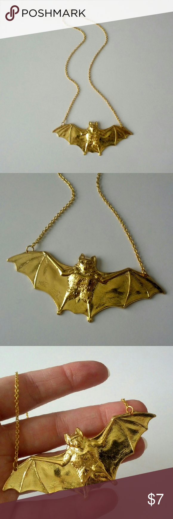"Striking golden bat necklace! Incredibly unique and a definite conversation piece!  Tried on but never worn.  About 17"" in length.  I'm selling my massive jewelry collection to help pay for home repairs and renovations.  Price is firm, but bundle and save 10%! Jewelry Necklaces"