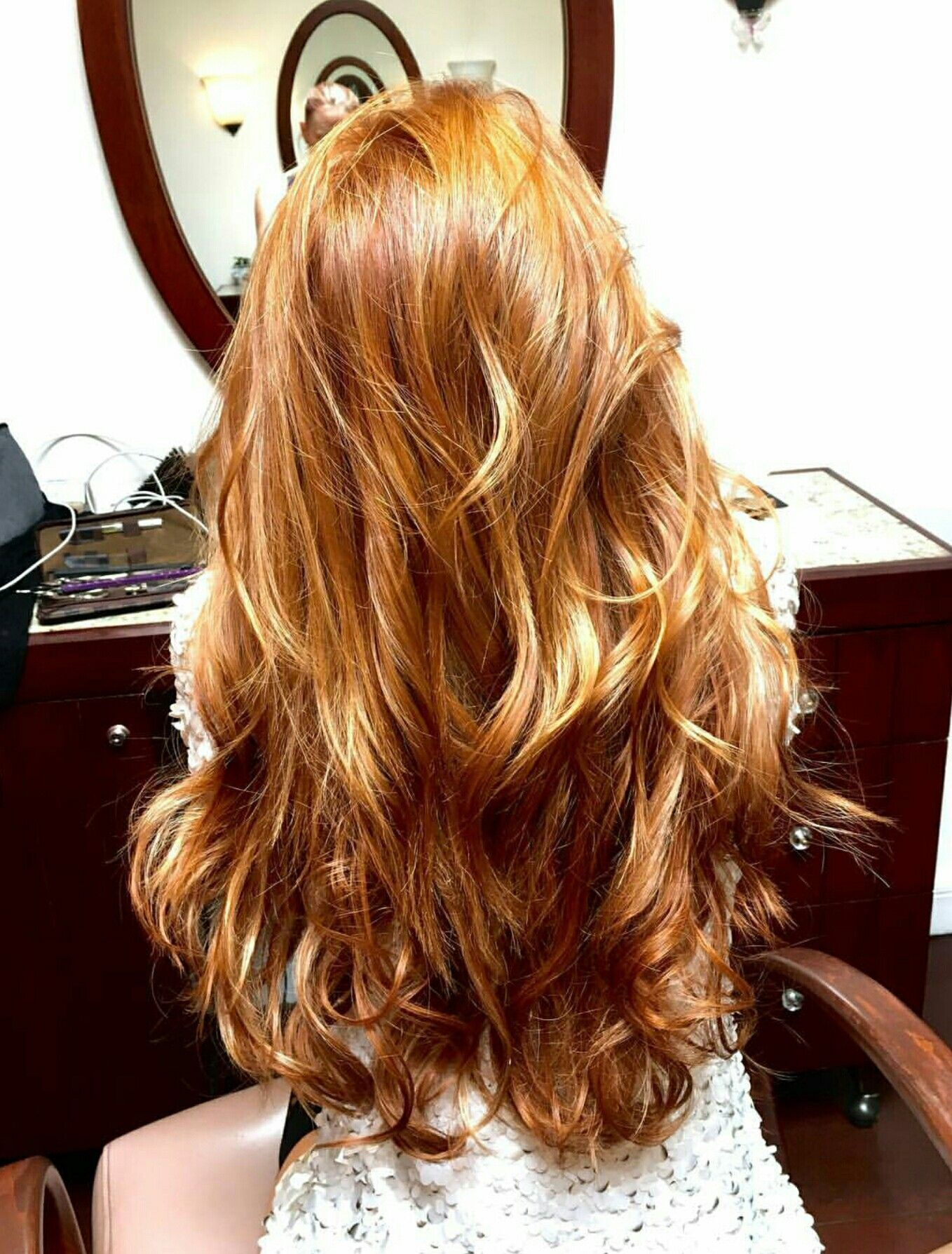 Gorgeous natural red hair with blonde highlights ...