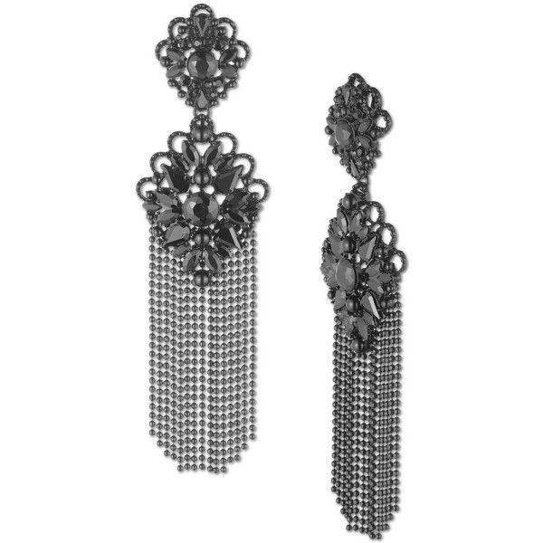 Marchesa Drama Fringe Chandelier Earrings 790 Ils Liked On Polyvore Featuring Jewelry Gunmetal Gunmet