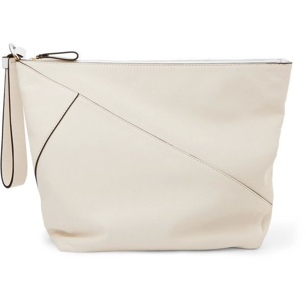 Diane von Furstenberg Origami paneled leather clutch (3.325 NOK) ❤ liked on Polyvore featuring bags, handbags, clutches, white, evening handbags, leather clutches, white clutches, tablet pouch and evening clutches