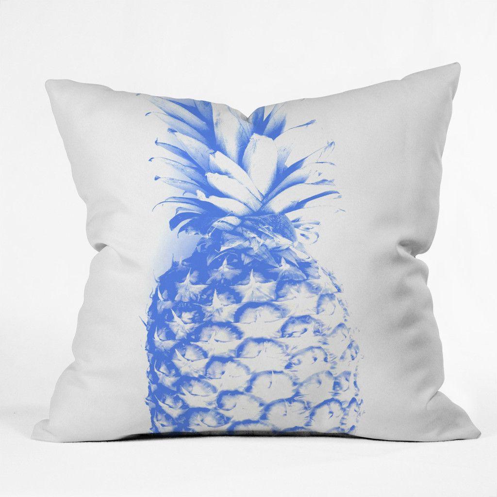 Deb Haugen Blu Pineapple Outdoor Throw Pillow