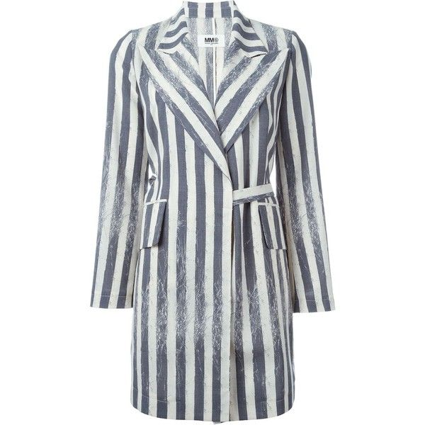 Mm6 Maison Margiela belted stripe coat (€1.005) ❤ liked on Polyvore featuring outerwear, coats, white, stripe coat, white wool blend coat, wool-blend coat, white coat and mm6 maison margiela