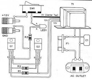 12V Power Inverter using 555 Timer Circuit Diagram