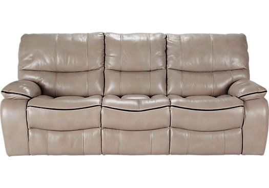 Cindy Crawford Home Gianna Mushroom Leather Power Reclining Sofa   Leather  Sofas (Beige)