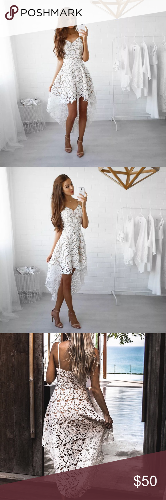 5 New White V Neck Lace High Low Dress Lace White Dress Floral Lace Dress Knit Lace Dress [ 1740 x 580 Pixel ]