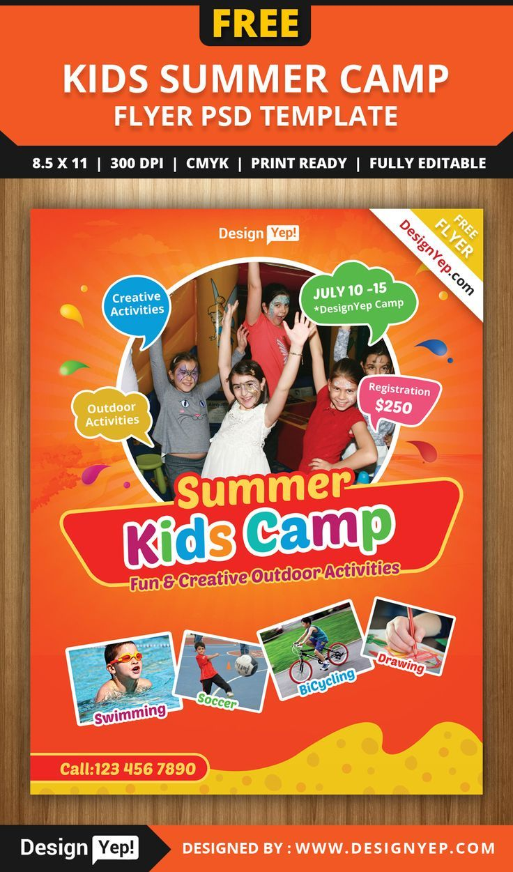Free Kids Summer Camp Flyer Psd Template 8585 Designyep Poster