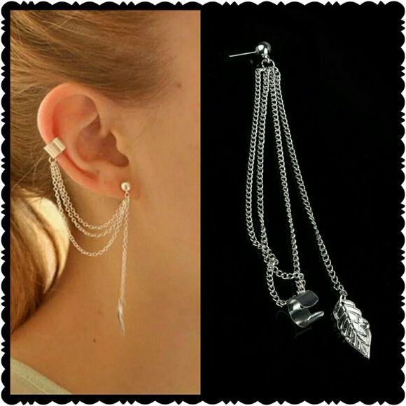 NEW Silver 3 Chain Tassel Leaf Charm Earring Brand new  super unique  earring and cuff in one  includes one earring as shown Jewelry